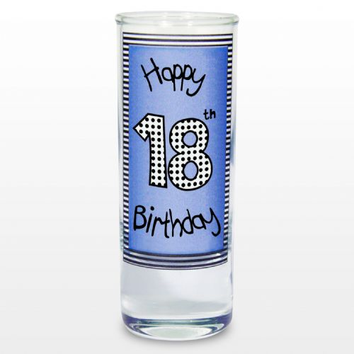 Blue 18th Happy Birthday Shot Glass Gift